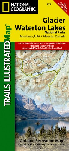 Glacier and Waterton Lakes National Park, MT - Trails Illustrated Map #215 (National Geographic Maps: Trails Illustrated)