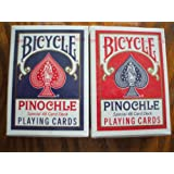 2 Decks Bicycle Red Blue Pinochle Playing Cards RI, U.S. Playing Card Co.