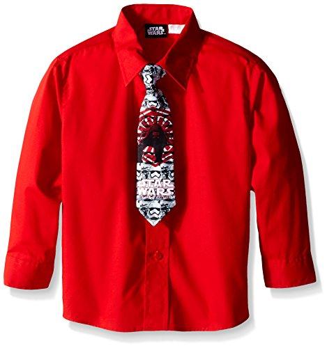 Star Wars Boys' Storm Clone Dress Shirt and Tie, Red, 7 (Star Wars Tie)