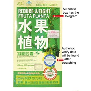 Reduce Weight Fruta Planta 30 Day Supply! HOLOGRAM BOX AND GMP CERTIFIED GENUINE STICKER~A security sticker which holds a special code which you can go online to verify the authenticity of your product