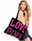 Victoria's Secret PINK LOVE PINK Animal Print Black Weekender Light Weight Canvas Beach Gym Tote Bag