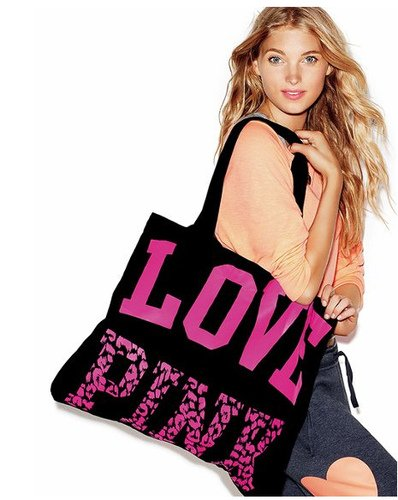 Victoria&#8217;s Secret PINK LOVE PINK Animal Print Black Weekender Light Weight Canvas Beach Gym Tote Bag