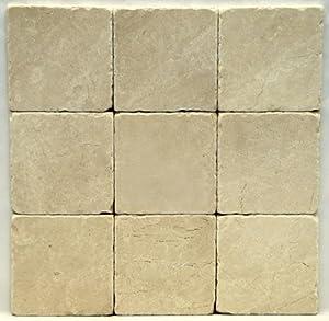 Botticino Fiorito 4 X 4 Tumbled Marble Floor Tile