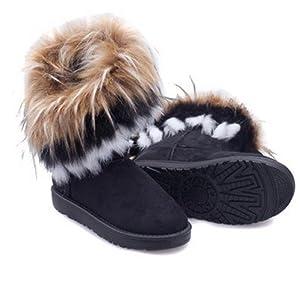 Buy Autumn Winter Warm High Long Snow Boots Artificial Fox Rabbit Fur Leather Tassel... by Mongkol Shop