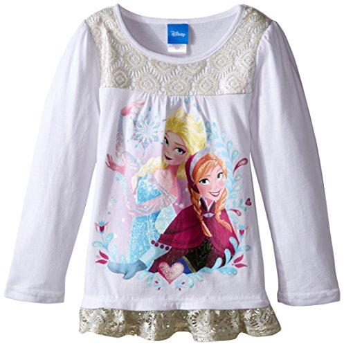 Disney Little Girls' Long Sleeve Fashion Top, White, 6X