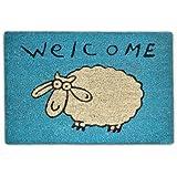 Relaxdays 10017712 Fußmatte Schaf Welcome Kokos 60 x 40 cm, blau