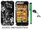 Alcatel One Touch Fierce 7024W (T-Mobile) Premium Pretty Design Protector Hard Cover Case + Travel (Wall) Charger + 1 of New Metal Stylus Touch Screen Pen (Black Silver Butterfly Flower)