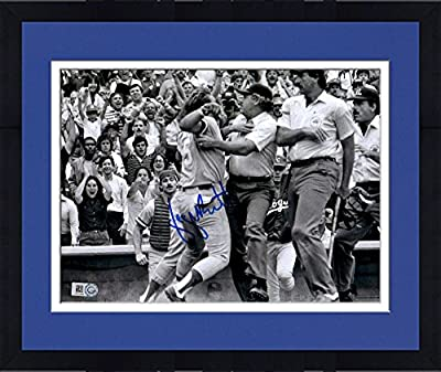 Framed George Brett Kansas City Royals Autographed 8'' x 10'' Black and White Pine Tar Photograph - Fanatics Authentic Certified