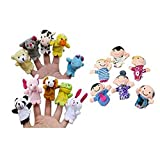 Usstore Baby Kid Child 16PC Finger Puppets Animals People Family Members Educational Toy Game Toy Gift