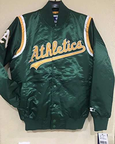 Oakland A's Athletics Starter Matte Satin Snap-Up Green Jacket(2X-Large) (Satin Starter Jacket compare prices)
