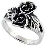 Sterling Silver 2 Roses Ring 5/8 inch wide, size 6