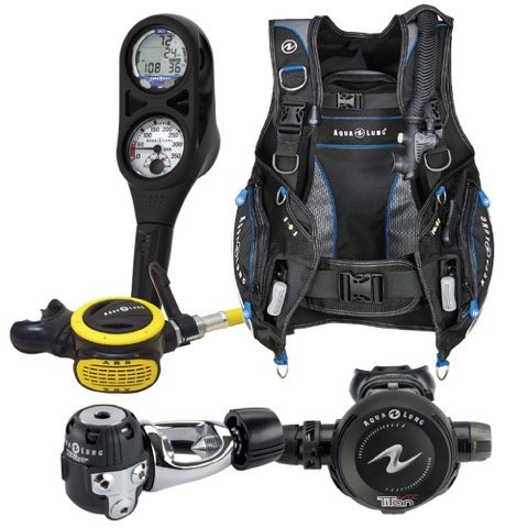 Aqua Lung Essential Package Pro HD BCD Size LG Titan Regulator ABS Octo i300 Computer SPG Console Aqualung Scuba Diving