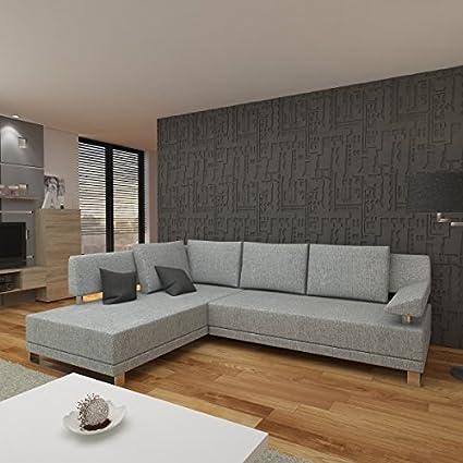 Sofa Couch Ecksofa Eckcouch Wohnlandschaft gunkelgrau PALMA OT L