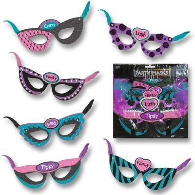 Amscan Cool Birthday Party Masks, Teal/Pink/Black, 8""