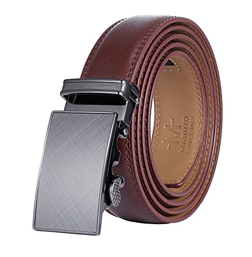 Marino Men'sLeather Ratchet Belt with Automatic Buckle Brown