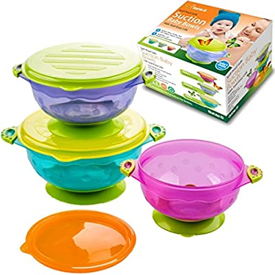 Best Baby Bowls, Spill Proof, Stay Put Suction Bowls with Seal-Easy Lids Stack Easy For Storage Gift Set of 3 Colorful Sizes Perfect for Babies & Toddlers BPA & BPS Free FDA Approved -BabieB by BabieB that we recomend personally.