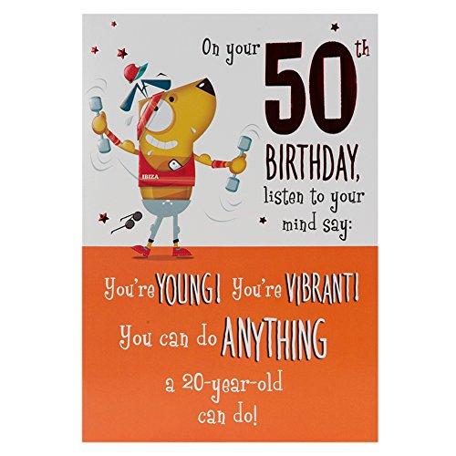Hallmark - Tarjeta de felicitación por 50 cumpleaños (tamaño mediano)