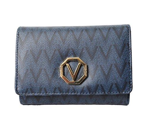 Mario Valentino da donna di colore blu, portafoglio/borsetta apribile con LxHxW 15 x 10 x 3 cm