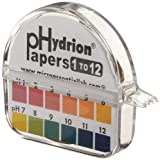 Micro Essential Lab 50 Polystyrene Hydrion Wide Range pH Test Paper Dispenser, Single Roll, 1 - 12 pH