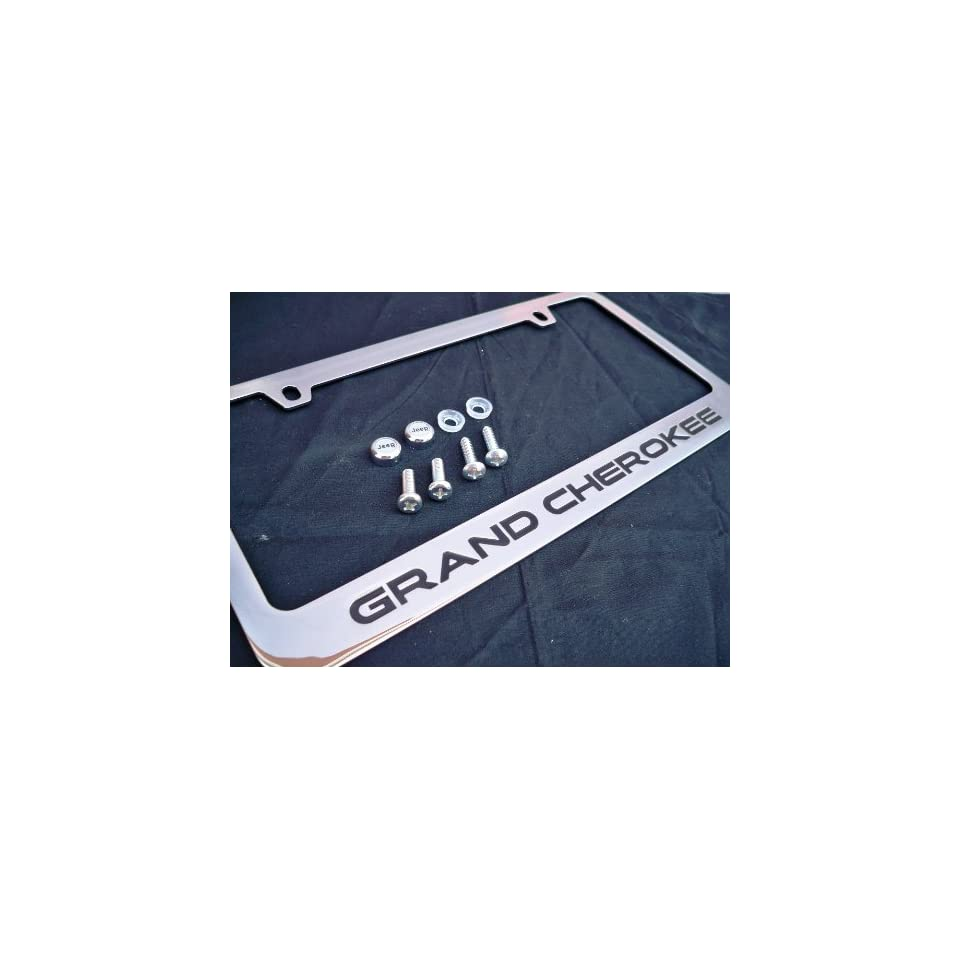 Jeep Grand Cherokee Chrome Metal License Plate Frame with Logo Screw Caps