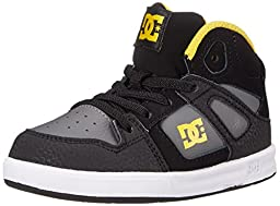 DC Rebound UL Youth Shoes Skate Shoe (Toddler), Black/Grey/Yellow, 6 M US Toddler