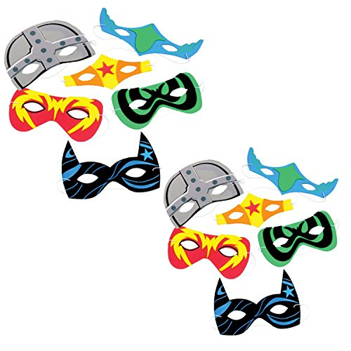 TwiceBooked-24-Assorted-Comic-Book-Super-Hero-Foam-Masks-2-Packages-of-12-Each