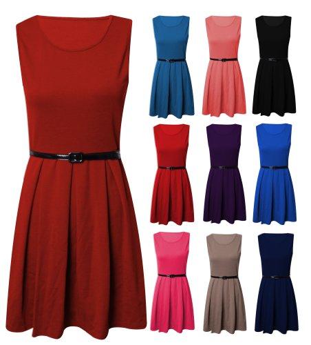 Womens Sleeveless Tailored Skater Dress Ladies
