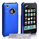 Blue And Chrome Hard Hybrid Case For The Apple iPhone 3 / 3G / 3GS With Screen Protector Film And Grey Micro-Fibre Polishing Clothby Yousave Accessories TM