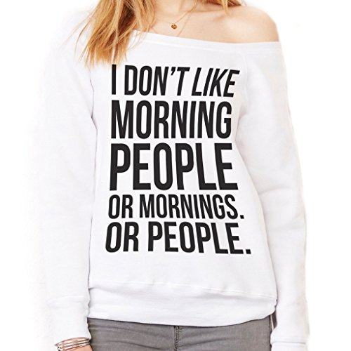 Felpa Fashion I DONT LIKE MORNING PEOPLE - DIVERTENTE by Mush Dress Your Style - Donna-XL-Bianca