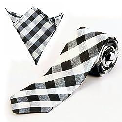 Black And Grey Husk Checks Tie And Pocket Square Set