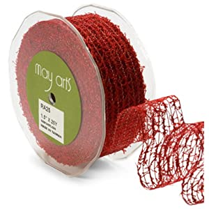 May Arts 1-1/2-Inch Wide Ribbon, Burgundy Net