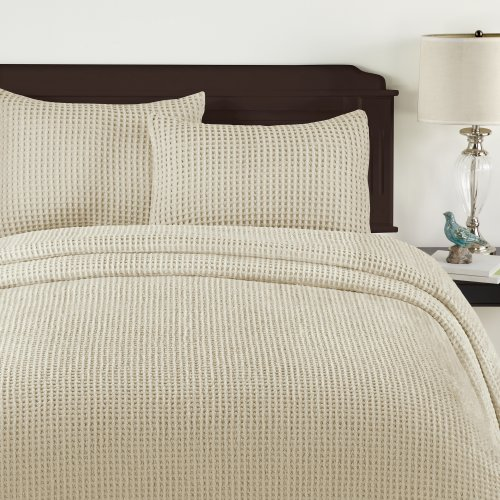Lamont Home Honeycomb Bedspread, Twin, Sand front-800404