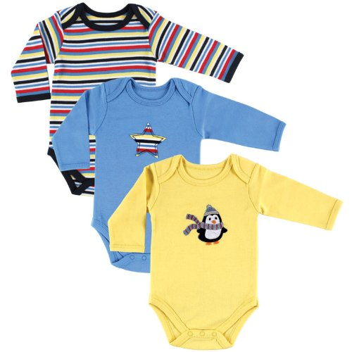 Hudson Baby Baby-Boys Long Sleeve Bodysuits, Penguin, 9-12 Months (Pack of 3)