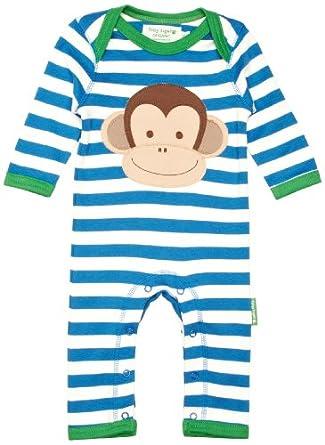 Toby Tiger Unisex Baby Organic Monkey Applique Sleepsuit Blue/ White 3 - 6 Months