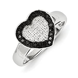 IceCarats Designer Jewelry Size 8 Sterling Silver Black White Diamond Heart Ring