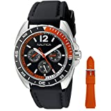 Nautica Men's NAD11520G Nautica Sport Ring Gift Set Analog Display Quartz Black Watch