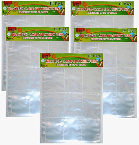 Trading Card 9 Pocket Protector Sheets X 50 Plastic Pages