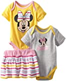 Disney Baby-Girls Newborn 2 Bodysuits and Skirt Set, Grey/Yellow, 6-9 Months