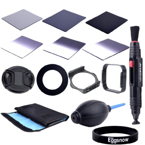 Eggsnow Dslr Camera Accessory Kit - Graduated Nd2 Nd4 Nd8 + Full Nd2 Nd4 Nd8 + 6 Pockect Fliter Bag + 52Mm Center Pinch Lens Cap + Air Blower Cleaner Blaster + 52Mm Adapter Ring + Lens Hood + Filter Holder + Lens Clearing Pen (52Mm)
