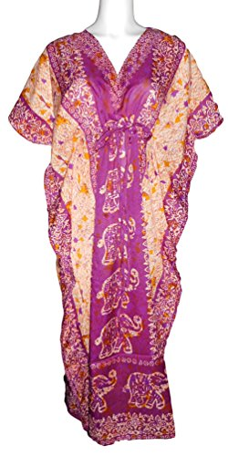 Women's Kaftan Printed African Drawstring Long Dress Top or Swim Suit Cover up (Orchid/Elephant)