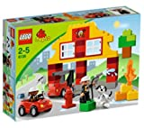 LEGO 6138 - My first Lego Duplo Fire Station 6138 (The brave firefighters are getting ready to save the day! The mini fire truck is ready to roll when the fire bell rings! Use the ladder, fire axe and fire hose to help put out the blaze! DUPLO bricks, fi