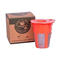 TerraPod reusable carafe coffee cup, fits Keurig 2.0 K200, K300, K400, K500 brewers, orange K-carafe, K-cup with stainless steel mesh (1)