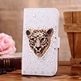 Incore Creative Samsung Galaxy ACE S5830/gt//s5839i Jewelry Bling Diamond Gem Leather Smart Case Cover With Magnetic Flip Horizontals & Card Holder // Britain Gold Leopard
