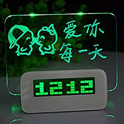 Ainyclocks Creative Luminous Can Write Message Board Alarm Clock For Kids Electronic Clock in Green