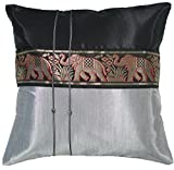 Avarada Striped Elephant Throw Pillow Cover Decorative Sofa Couch Cushion Cover Zippered 16x16 Inch (40x40 cm) Black Silver