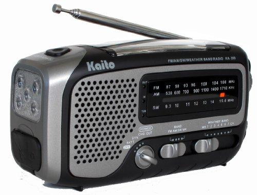 Kaito Ka350Gy Voyager Trek Solar/Crank Am/Fm/Sw Noaa Weather Radio With 5-Led Flashlight, Gray