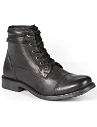 Levi's Maxwell Urban Black Mens Lace Up Mid Ankle Leather Army Shoes Boots