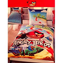 Angry Birds lenzuola, lenzuola, 1 x federa 80 x 80 cm e 1 x copripiumino 135 x 200 cm, 100% cotone con chiusura lampo