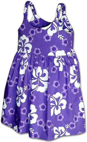 Pacific Legend Girls Summer Hibiscus Toddler Bungee Dress Purple 1-2 for 1yr old