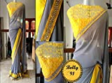 Ashvah Grey Georgette Saree With Blouse